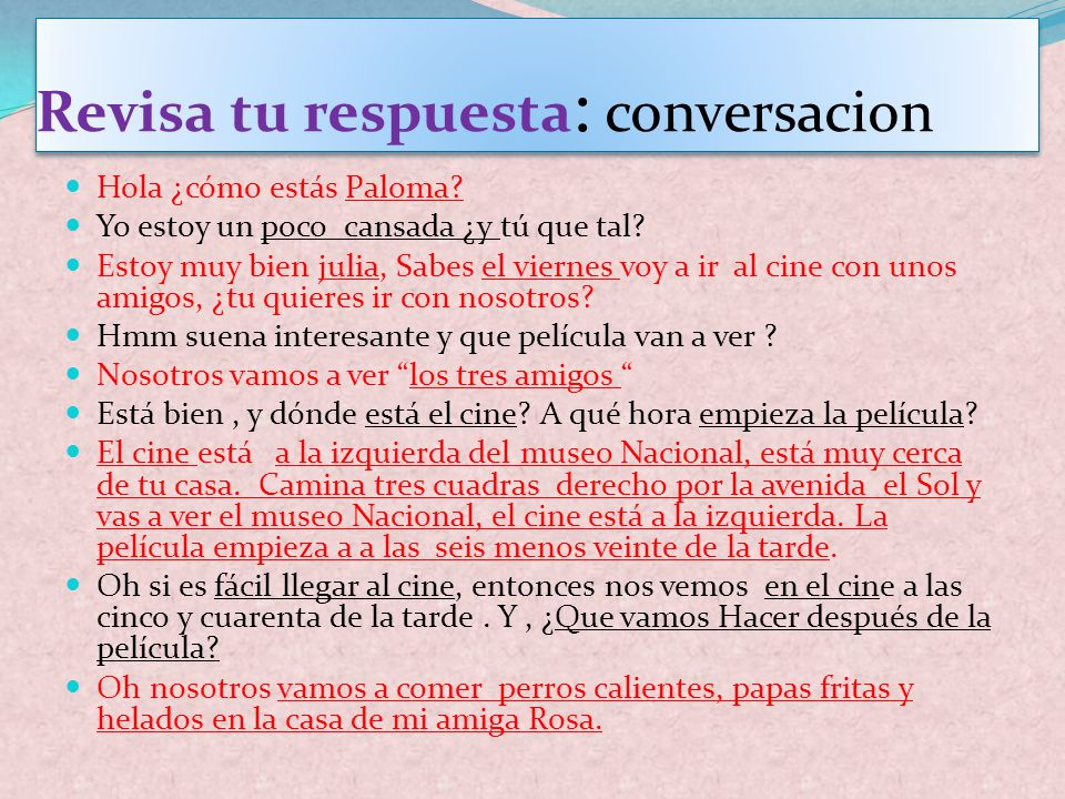 Revisa tu respuesta: conversacion