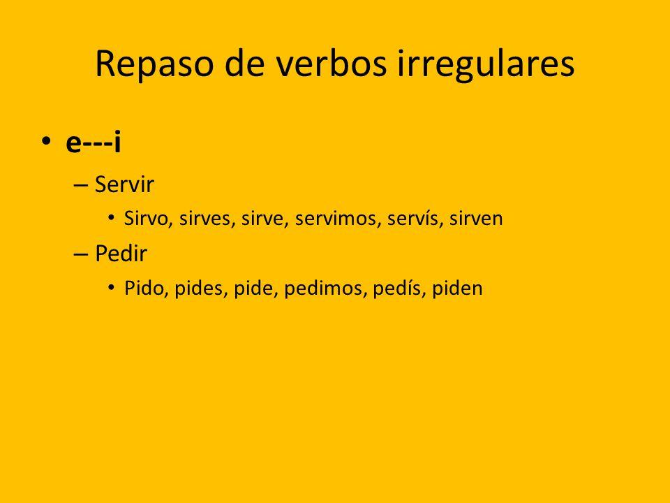 Repaso de verbos irregulares