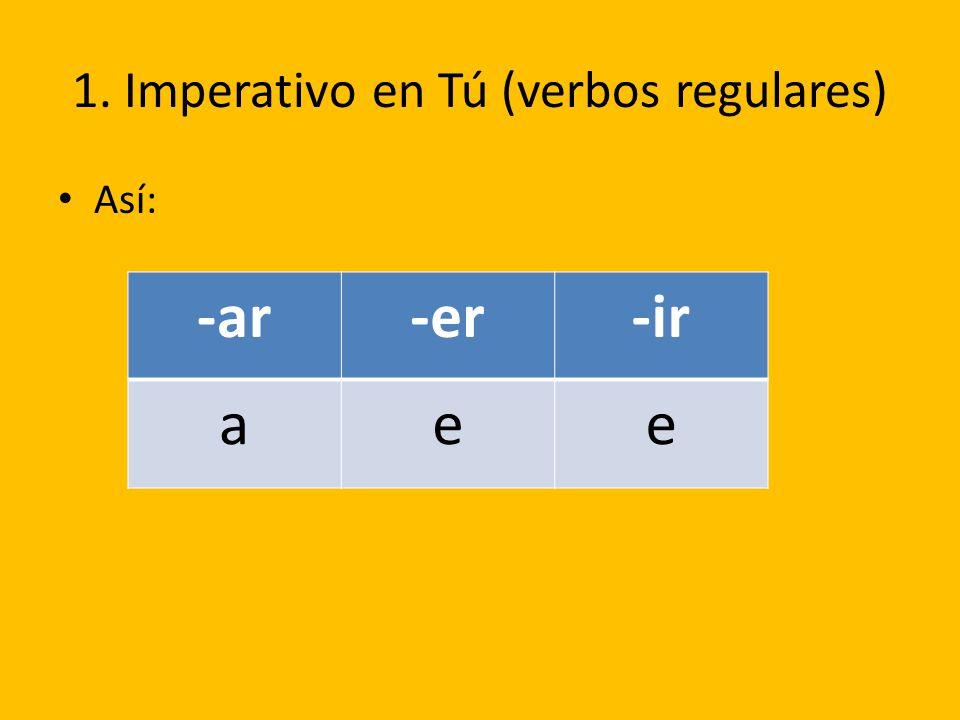 1. Imperativo en Tú (verbos regulares)