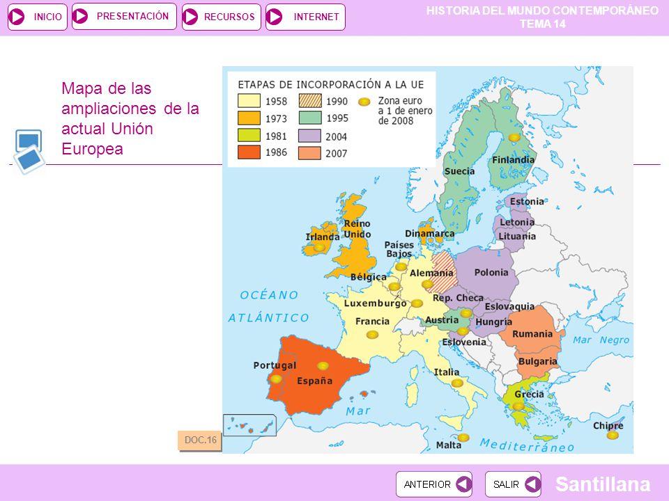 Mapa de las ampliaciones de la actual Unión Europea