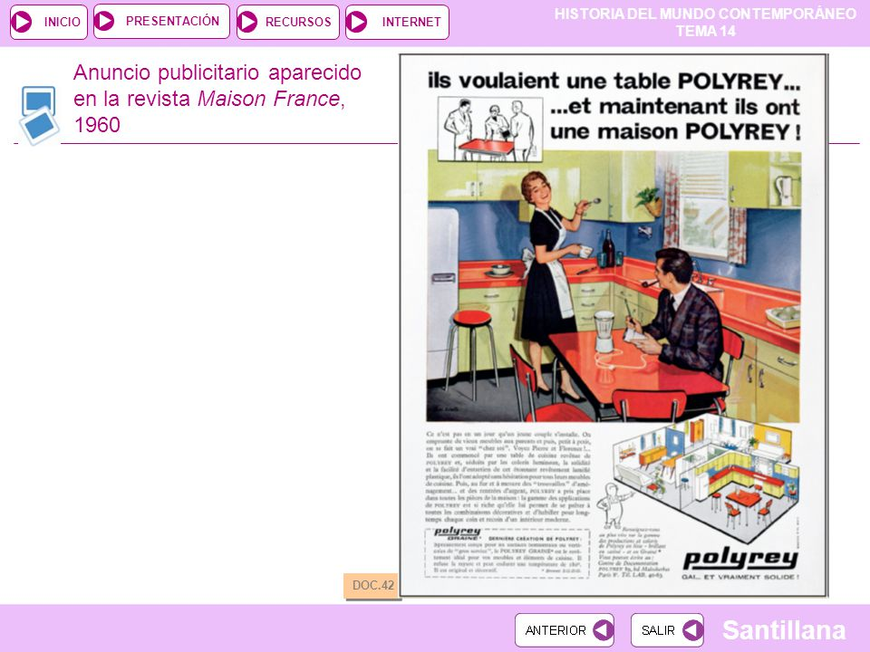 Anuncio publicitario aparecido en la revista Maison France, 1960
