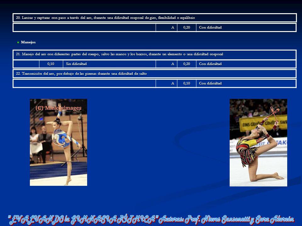 20. Lanzar y capturar con paso a través del aro, durante una dificultad corporal de giro, flexibilidad o equilibrio