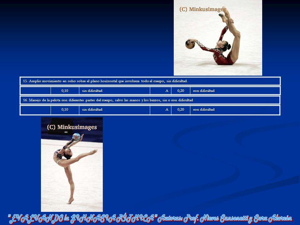 15. Amplio movimiento en ocho sobre el plano horizontal que involucra todo el cuerpo, sin dificultad.