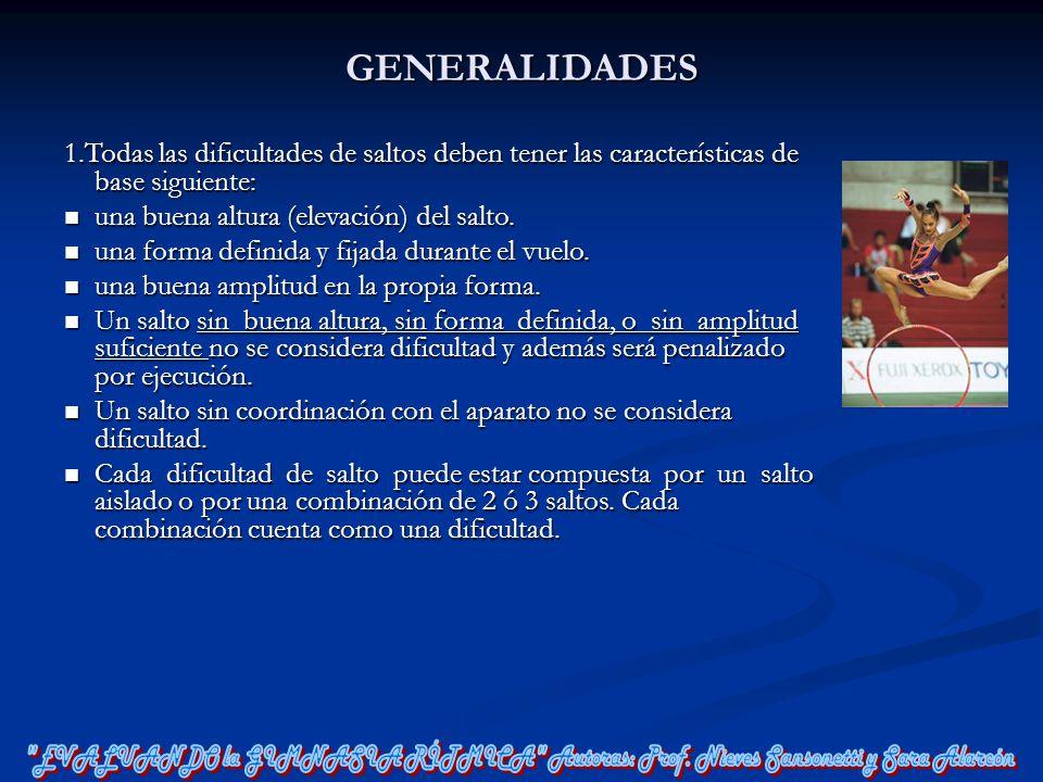GENERALIDADES 1.Todas las dificultades de saltos deben tener las características de base siguiente: