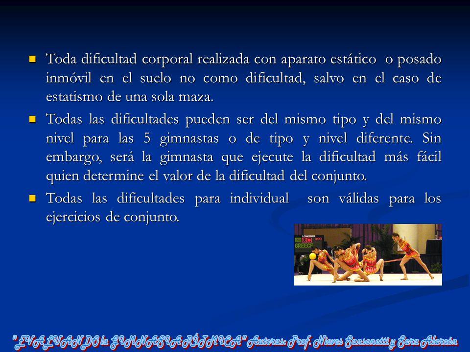 Toda dificultad corporal realizada con aparato estático o posado inmóvil en el suelo no como dificultad, salvo en el caso de estatismo de una sola maza.