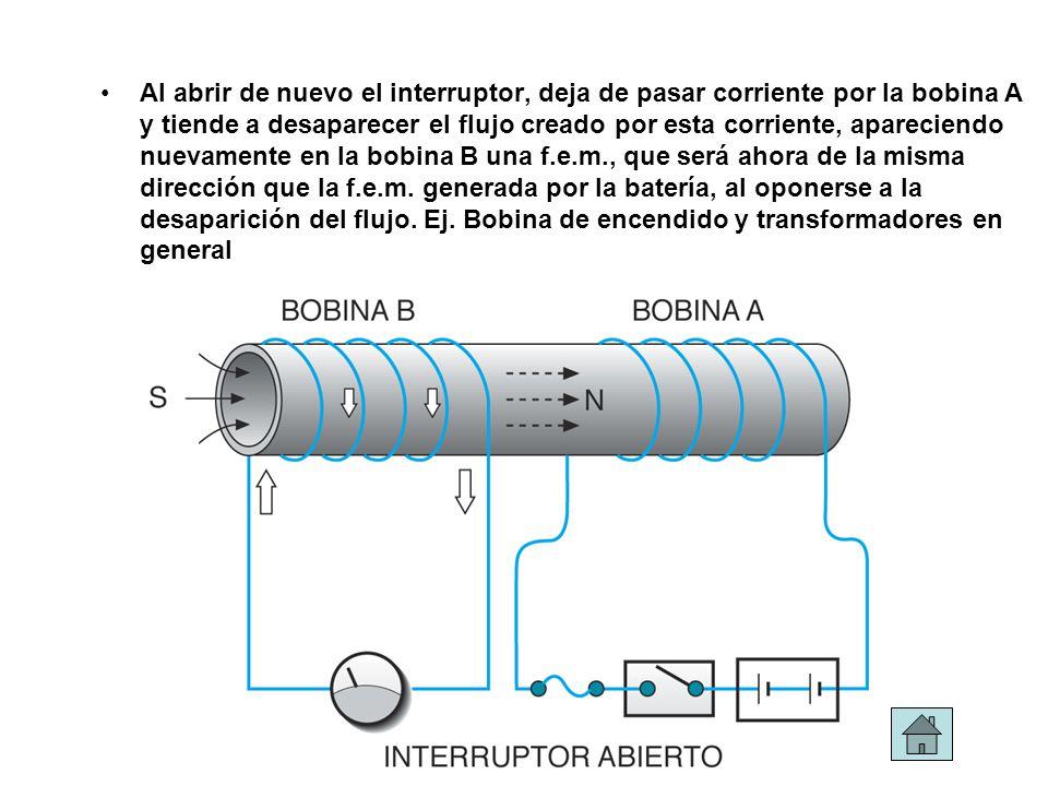 Al abrir de nuevo el interruptor, deja de pasar corriente por la bobina A y tiende a desaparecer el flujo creado por esta corriente, apareciendo nuevamente en la bobina B una f.e.m., que será ahora de la misma dirección que la f.e.m.