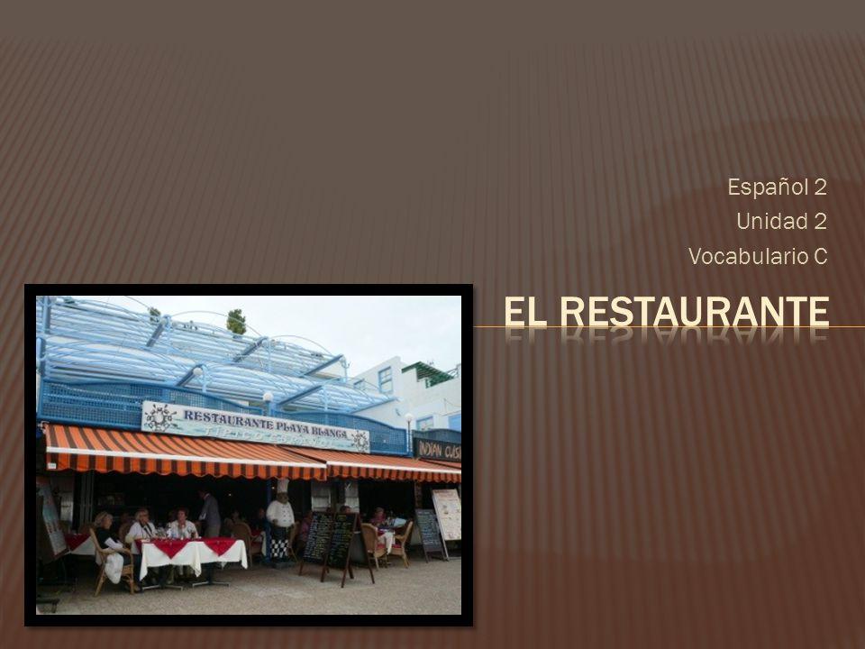 Español 2 Unidad 2 Vocabulario C El Restaurante
