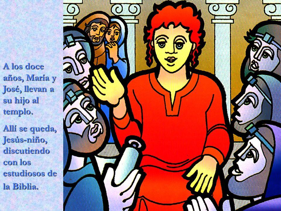 A los doce años, María y José, llevan a su hijo al templo.
