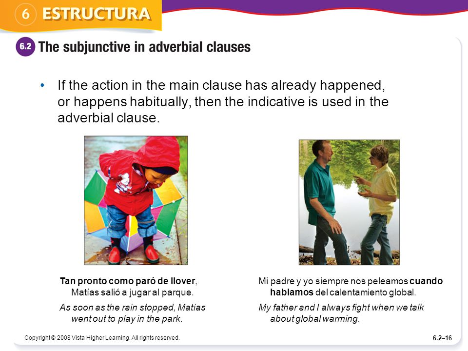If the action in the main clause has already happened, or happens habitually, then the indicative is used in the adverbial clause.