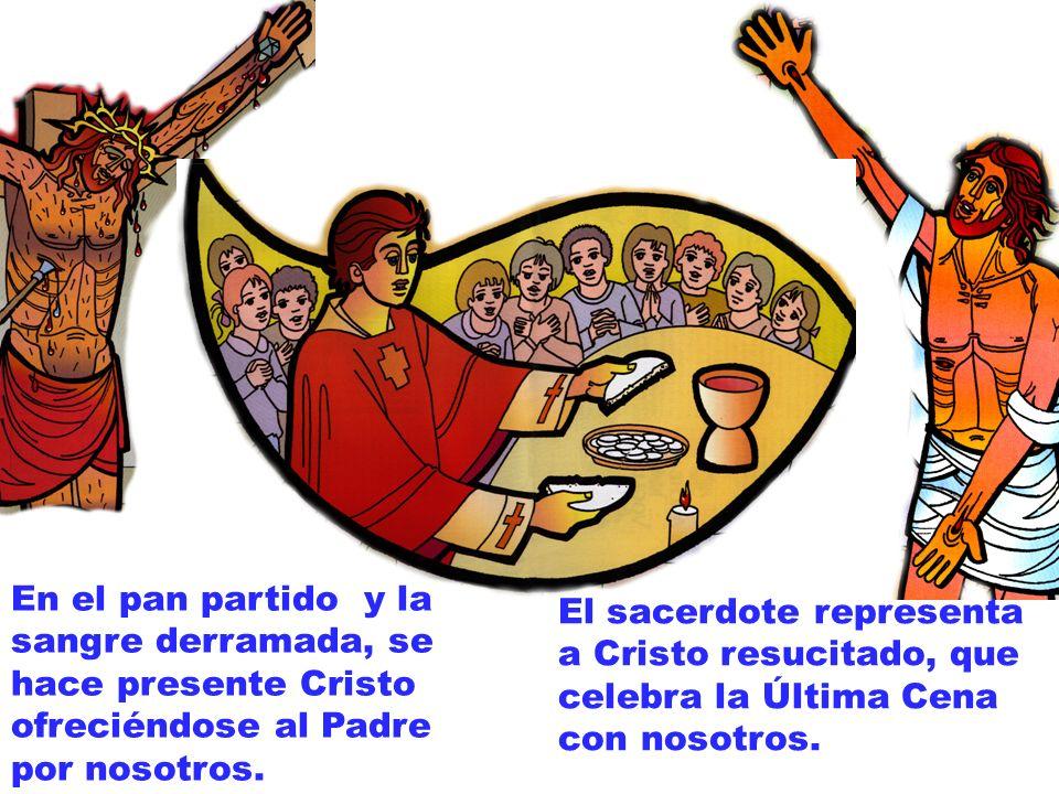 En el pan partido y la sangre derramada, se hace presente Cristo ofreciéndose al Padre por nosotros.