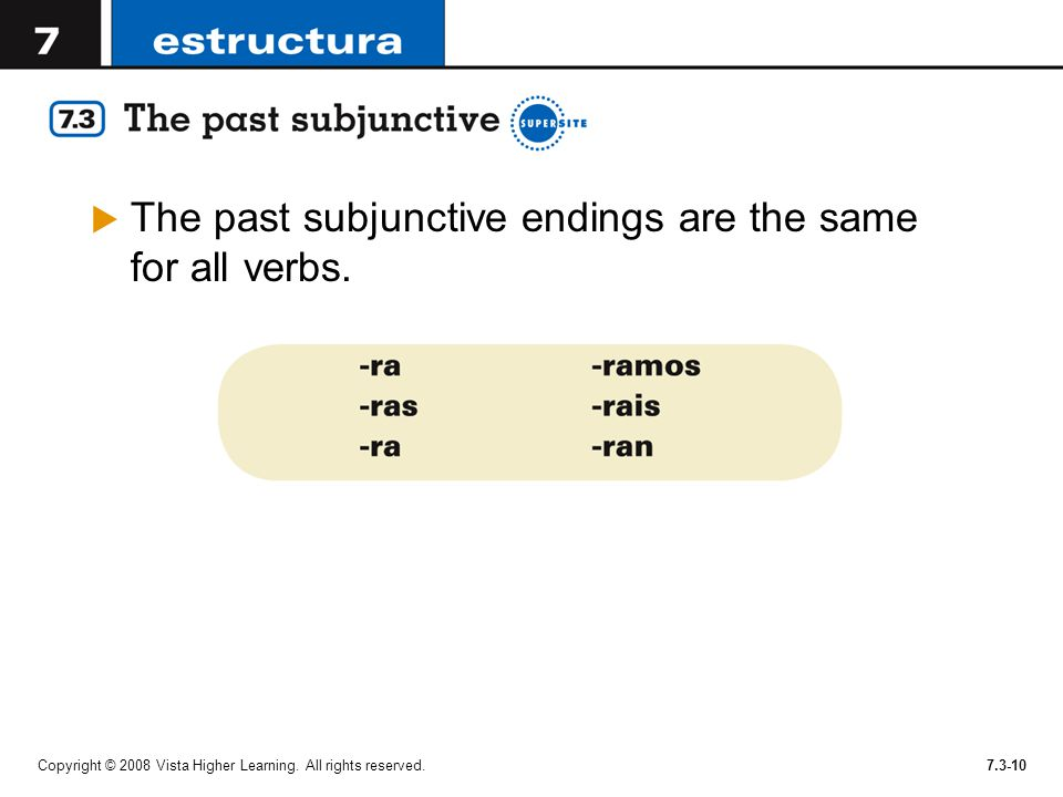 The past subjunctive endings are the same for all verbs.