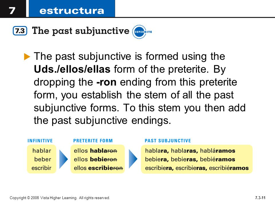 The past subjunctive is formed using the Uds