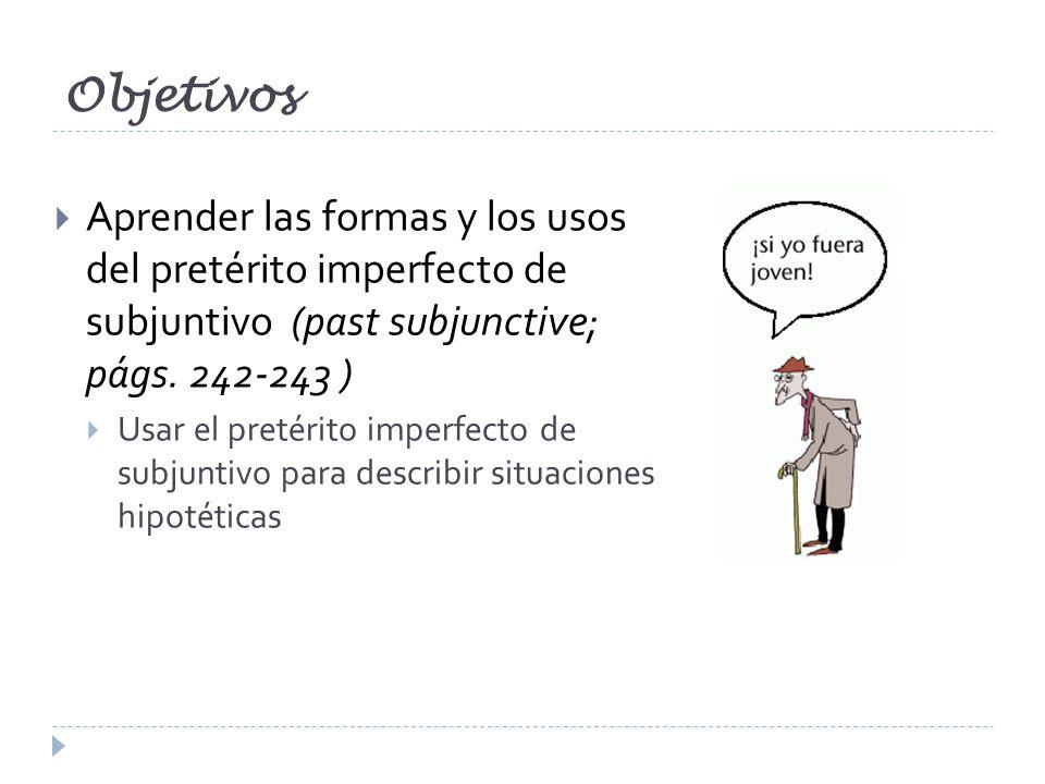 Objetivos Aprender las formas y los usos del pretérito imperfecto de subjuntivo (past subjunctive; págs. 242-243 )