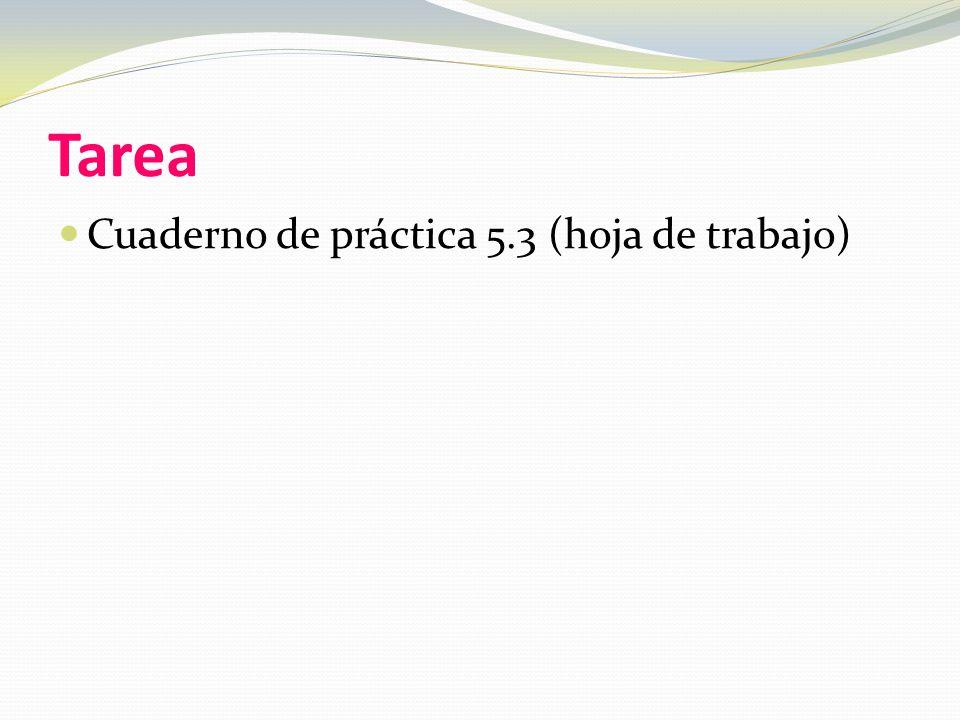Tarea Cuaderno de práctica 5.3 (hoja de trabajo)