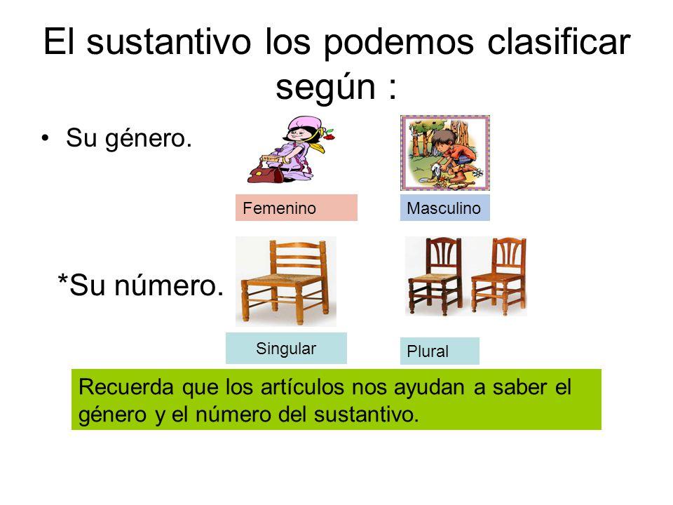 El sustantivo los podemos clasificar según :