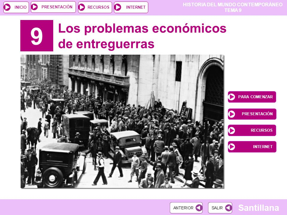 9 Los problemas económicos de entreguerras PARA COMENZAR PRESENTACIÓN