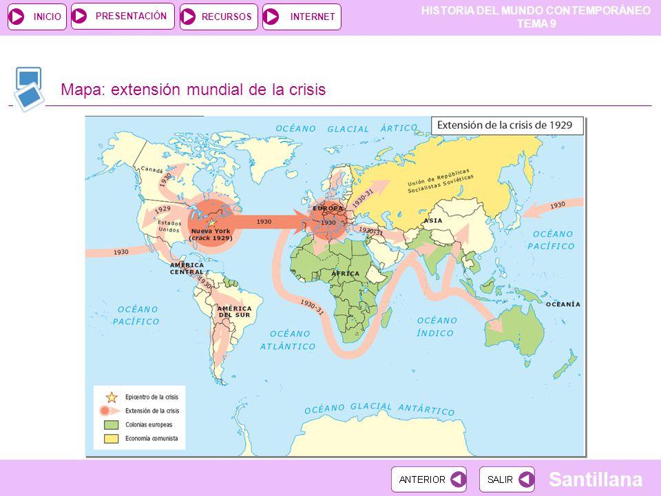 Mapa: extensión mundial de la crisis