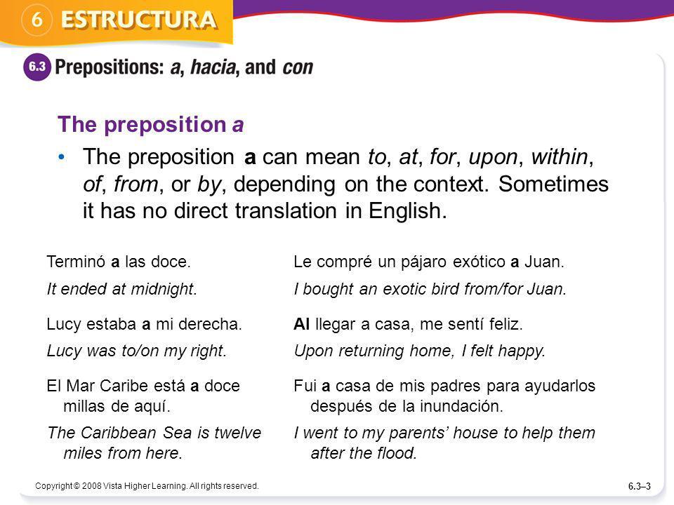 The preposition a