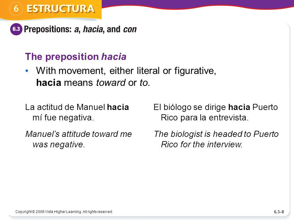 With movement, either literal or figurative, hacia means toward or to.