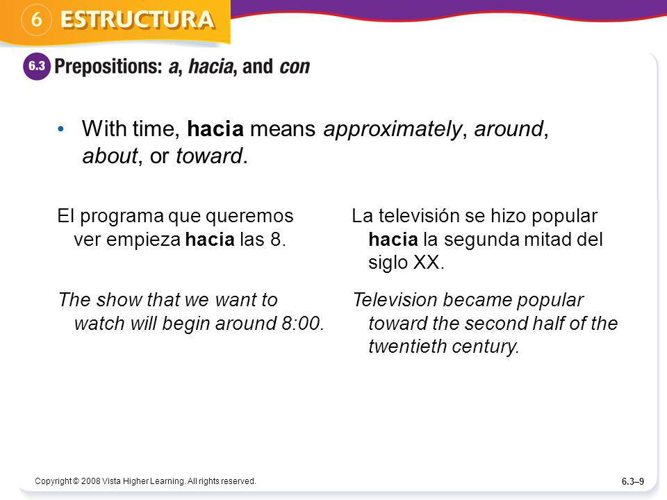 With time, hacia means approximately, around, about, or toward.