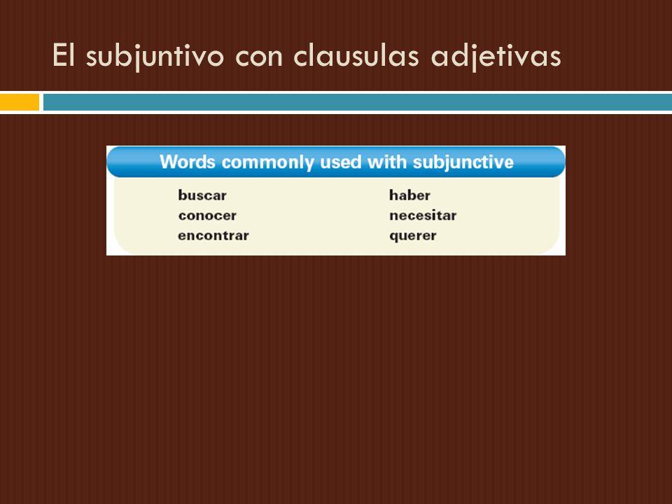 El subjuntivo con clausulas adjetivas