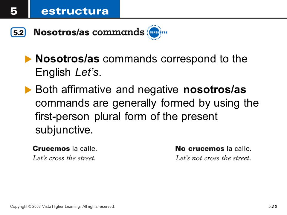 Nosotros/as commands correspond to the English Let's.
