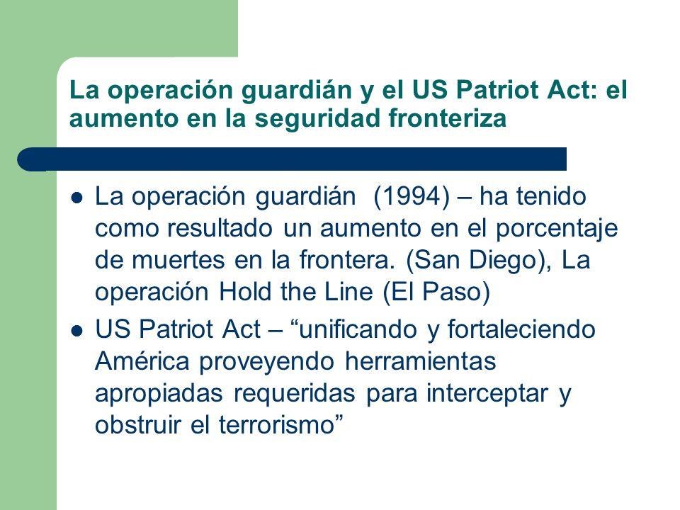 La operación guardián y el US Patriot Act: el aumento en la seguridad fronteriza