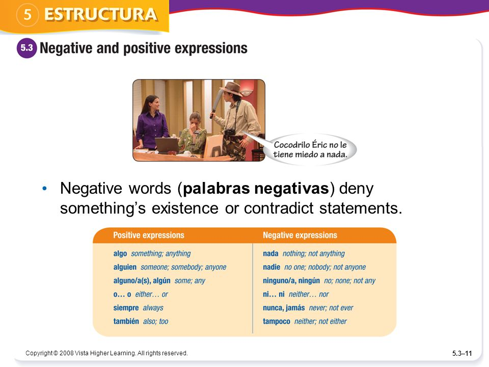Negative words (palabras negativas) deny something's existence or contradict statements.