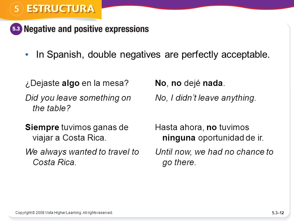 In Spanish, double negatives are perfectly acceptable.