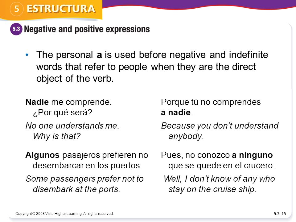 The personal a is used before negative and indefinite words that refer to people when they are the direct object of the verb.