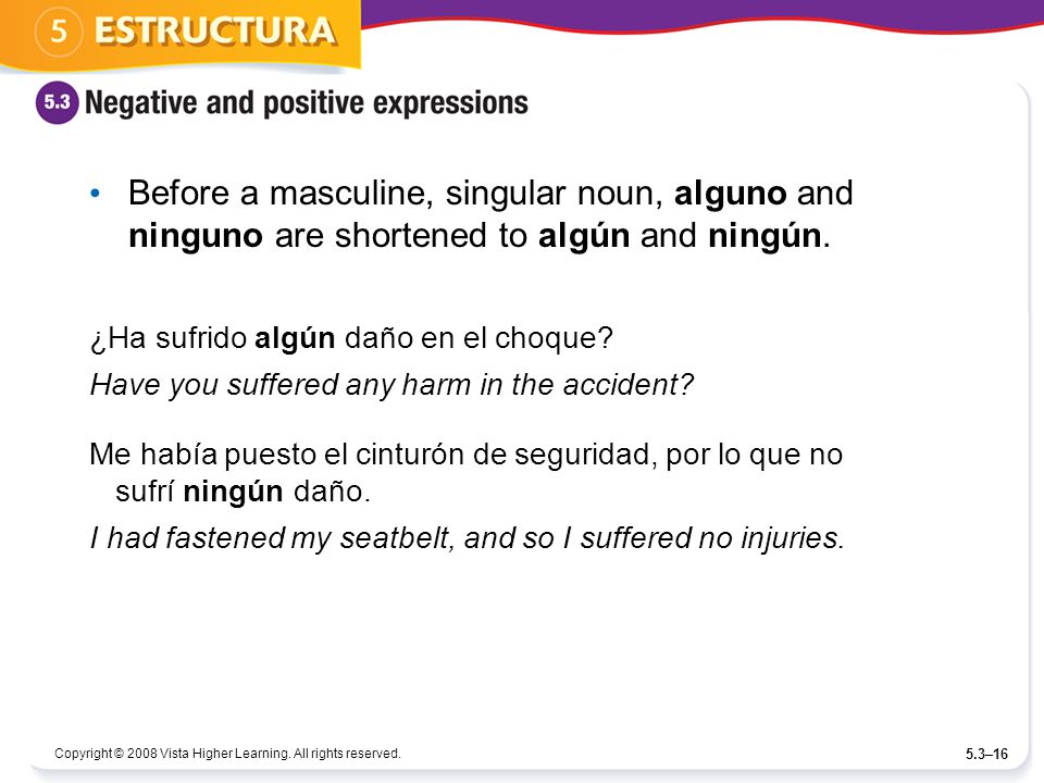 Before a masculine, singular noun, alguno and ninguno are shortened to algún and ningún.
