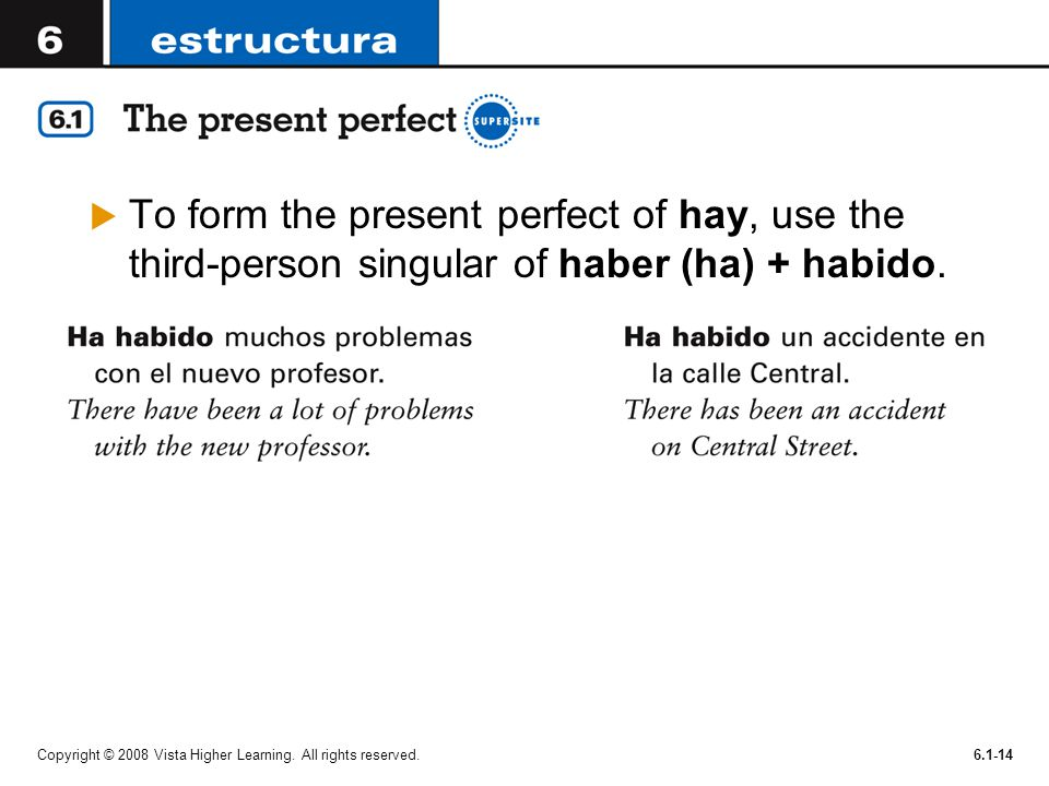 To form the present perfect of hay, use the third-person singular of haber (ha) + habido.