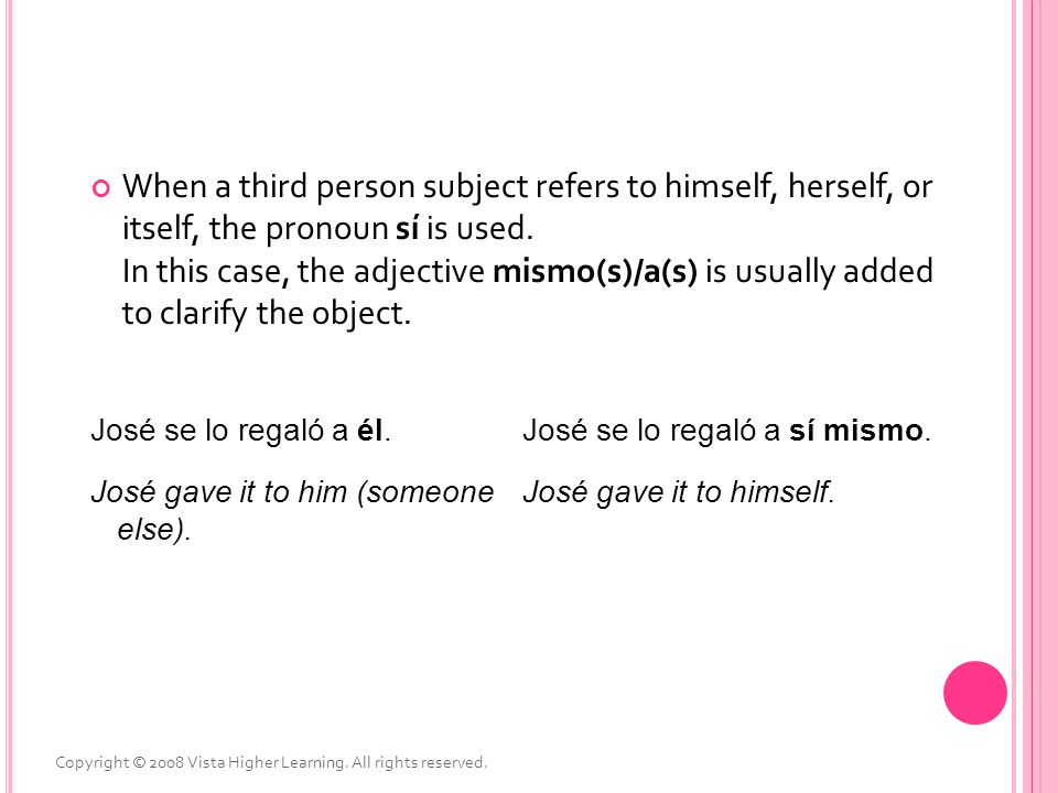 When a third person subject refers to himself, herself, or itself, the pronoun sí is used. In this case, the adjective mismo(s)/a(s) is usually added to clarify the object.