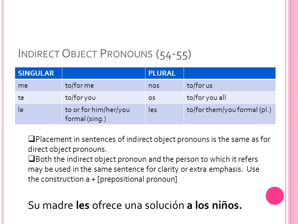 Indirect Object Pronouns (54-55)