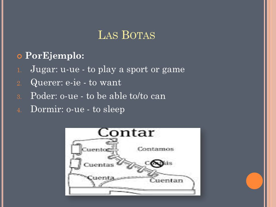 Las Botas PorEjemplo: Jugar: u-ue - to play a sport or game