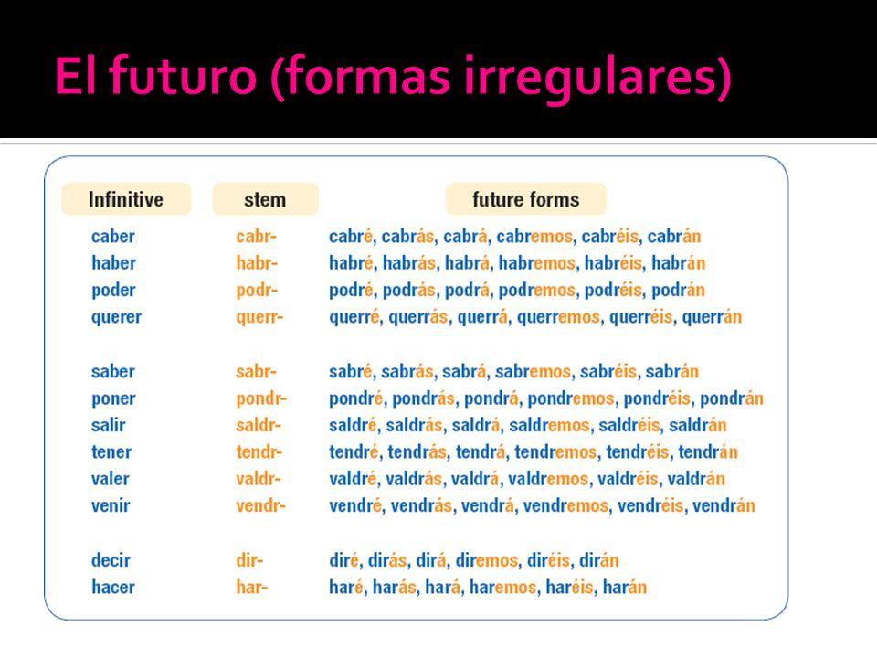 El futuro (formas irregulares)