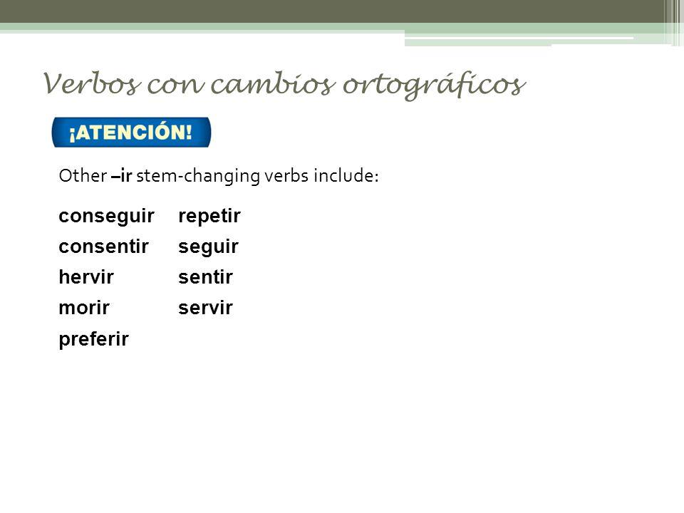 Verbos con cambios ortográficos