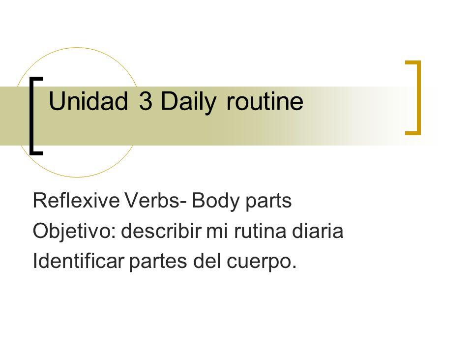 Unidad 3 Daily routine Reflexive Verbs- Body parts