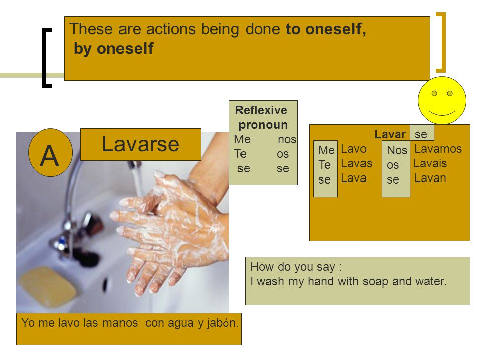 A Lavarse These are actions being done to oneself, by oneself