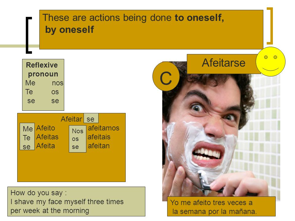 C Afeitarse These are actions being done to oneself, by oneself