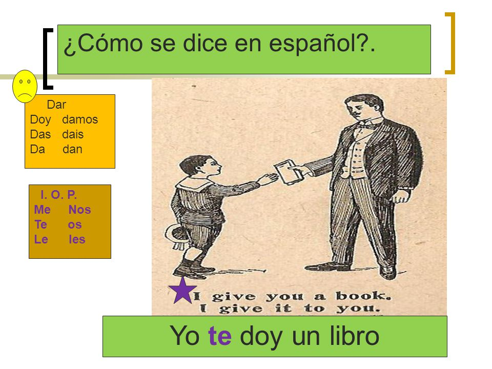 Yo te doy un libro ¿Cómo se dice en español . Dar Doy damos Das dais