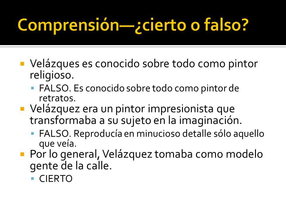 Comprensión—¿cierto o falso
