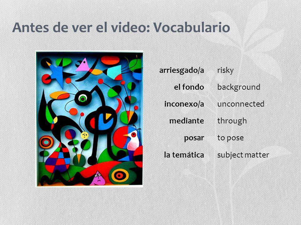 Antes de ver el video: Vocabulario