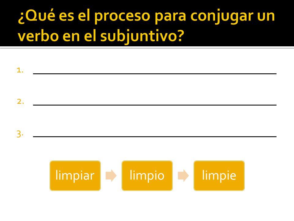 ¿Qué es el proceso para conjugar un verbo en el subjuntivo