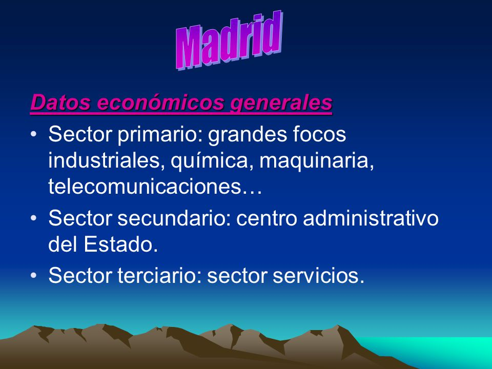 Madrid Datos económicos generales