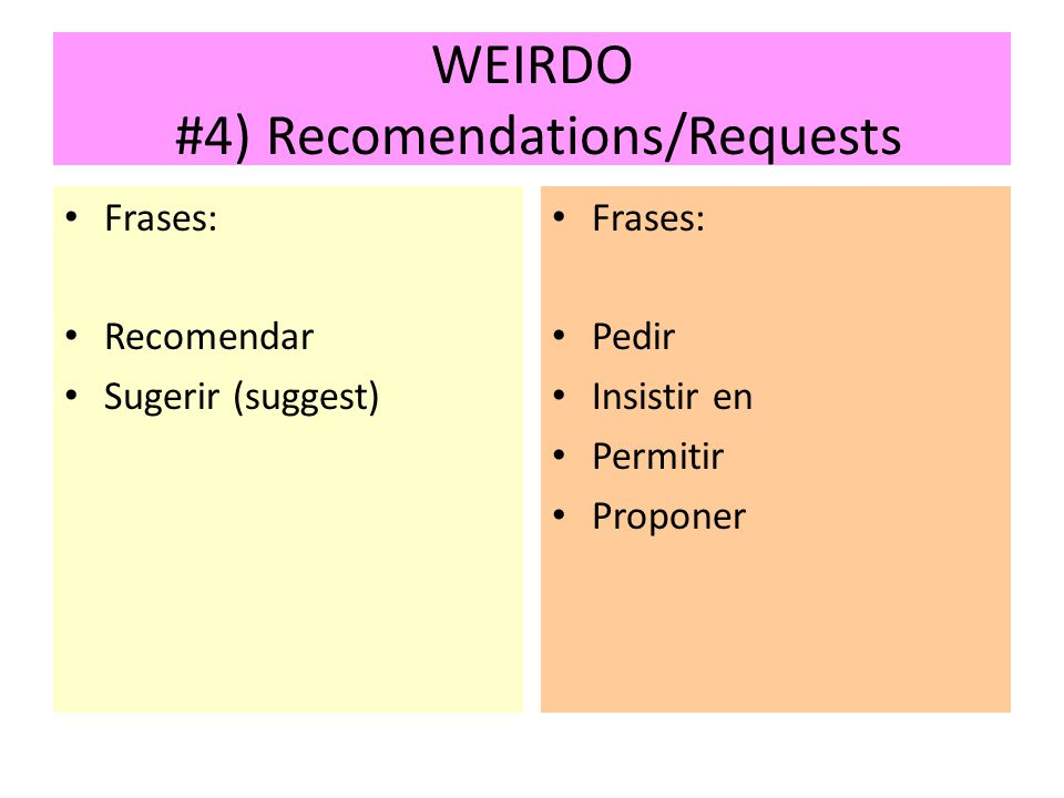 WEIRDO #4) Recomendations/Requests