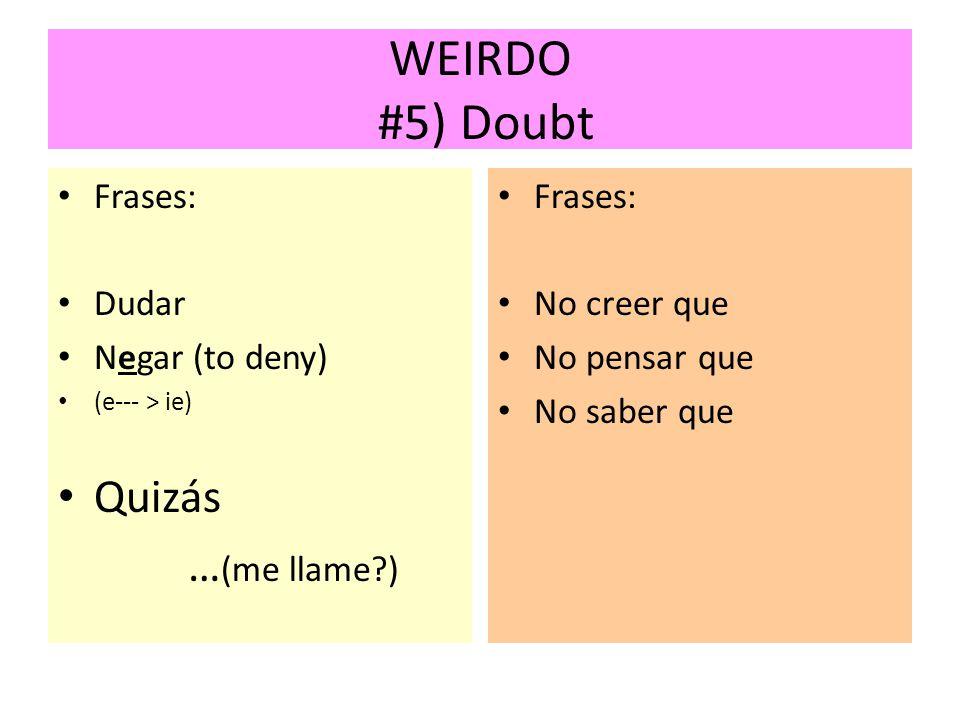 WEIRDO #5) Doubt Quizás …(me llame ) Frases: Dudar Negar (to deny)