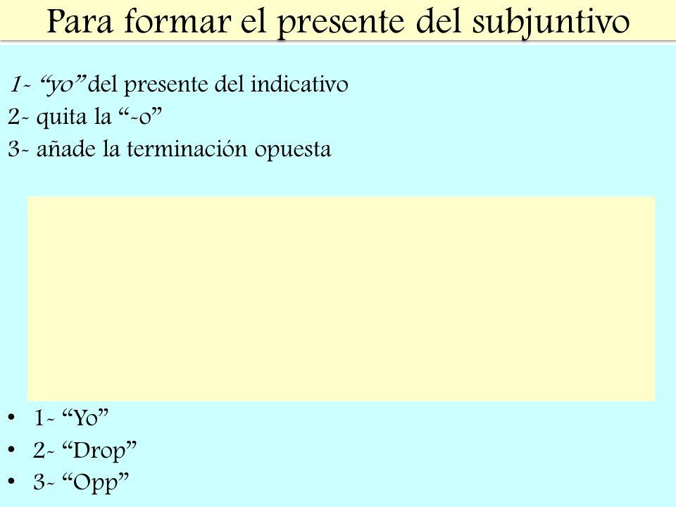 Para formar el presente del subjuntivo