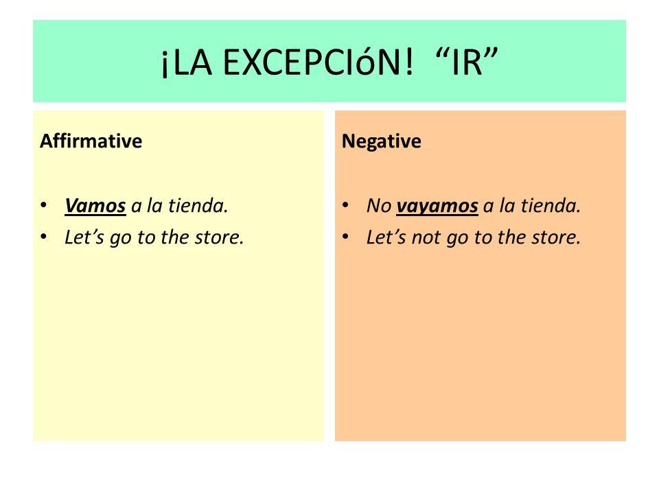 ¡LA EXCEPCIóN! IR Affirmative Negative Vamos a la tienda.