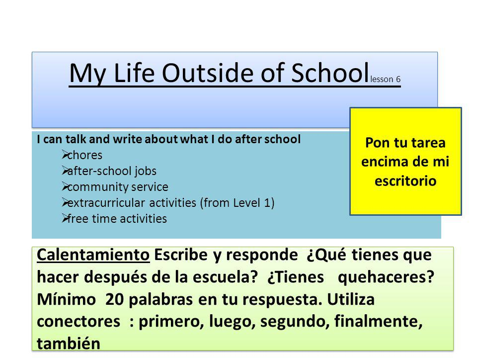 My Life Outside of Schoollesson 6